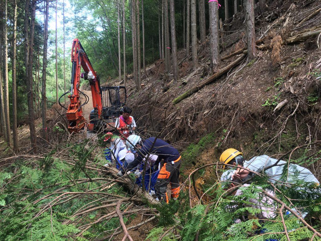 奈良県から訪れた小学生が美山里山舎で林業体験をしました。